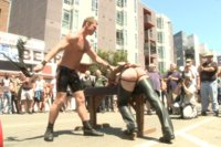 Bound stud gets publicly beaten and gang fucked for the crowd's amusement for his first time at Up Your Alley