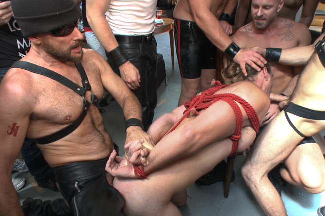 Bound in Public - Mitch Vaughn - Kip Johnson - Connor Maguire - Bound hunk publicly tormented and gang fucked for his first Dore Alley #1