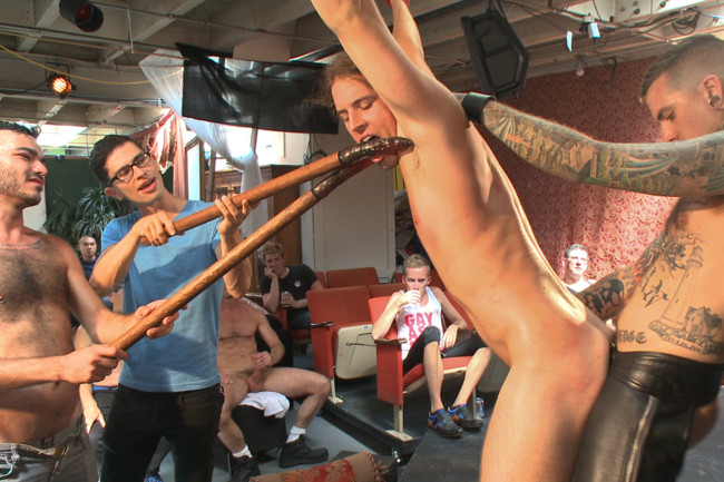 Bound in Public - Mitch Vaughn - Kip Johnson - Connor Maguire - Bound hunk publicly tormented and gang fucked for his first Dore Alley #2