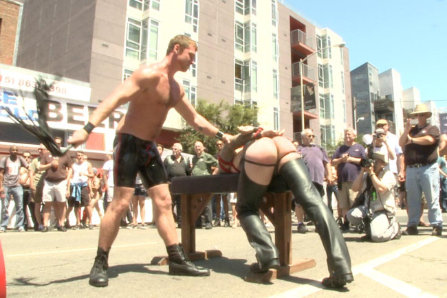 Bound in Public - Mitch Vaughn - Kip Johnson - Connor Maguire - Bound hunk publicly tormented and gang fucked for his first Dore Alley #11