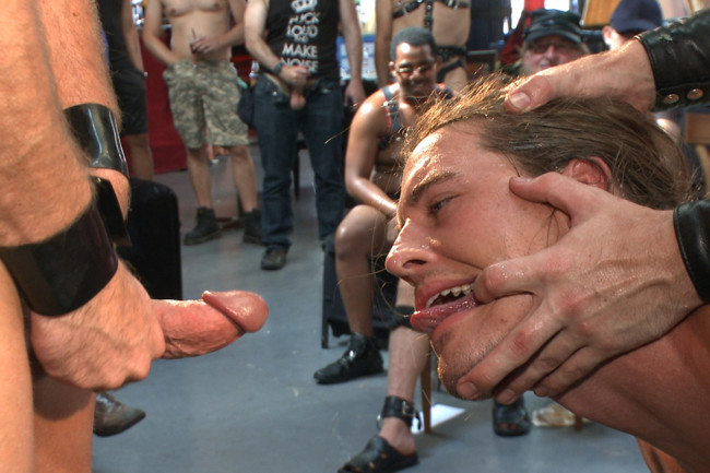 Bound in Public - Mitch Vaughn - Kip Johnson - Connor Maguire - Bound hunk publicly tormented and gang fucked for his first Dore Alley #6