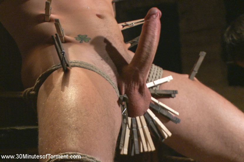 The destruction of dylan knight. The Chair - Boy next door, Dylan Knight awaits his first challenge as Van binds him tight to the chair. Dylan's raging heavy cock stands at attention as he's warmed up with the riding crop against his torso before clothespins are painfully attached all down his torso. The bound stud pushes through the pain as more are clamped down onto his balls while Van crops each one off. - The Pit - Moving onto his second challenge, Dylan balances on wooden blocks as the flogger rains down against his flesh. Weights are then added onto his nipples and sensitive balls as he's relentlessly beaten down. - The Water Chamber - Inverted over the bathtub, Dylan is beaten with the crop once more before he's repeatedly dunked in the water to muffle his screams. After enduring an intense water boarding, Dylan's challenged with one more task, he must sucks his load if he wants to successfully complete his 30MT Challenge.