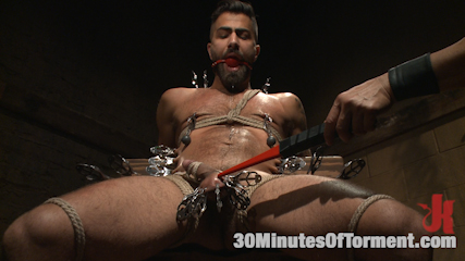 Super hunk adam ramzi  tormented and anal violated. Super Hunk Adam Ramzi gets tortured to the extreme and then get's his analy violated.