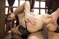 Gorgeous MILF Syren de Mer in domestic anal training. Stress position to earn her training collar, hard face fucking, anal dick riding