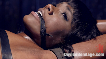 Full throttle  ebony babe suffers beautifully. Sgt. Major wages war on hot ebony babe, with evil devices and torment.