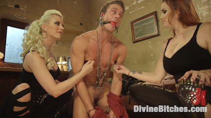Hottest dominatrix sex ever filmed. Two delicious dominatrix make love dude into submission having orgasm after orgasm and extracting him of all his cum!!!!!