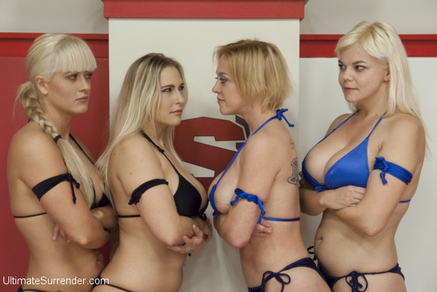 Battle of the boobs. Blond babes with Big Tits smoother each other and make each other cum in wrestling holds