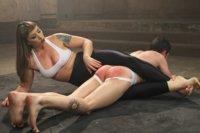 Gorgeous-big-bicep-dominatrix-wrestles-smothers-and-dominates-slaveboy