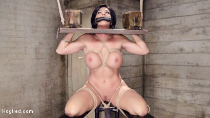 Big Fake tits in tight rope bondage, Shay Fox begs and pleads fort the orgasms to stop