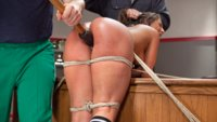 Big booty slut in tight bondage and punished for her whorish actions.