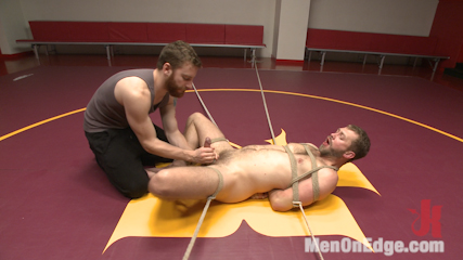 Edged in the gym so long that he cums twice. Van and Sebastian trap a janitor in the gym and edge him so long that one orgasm isn't enough.