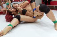 First Tag Match of the Season, Grapplers take on the Tarrasques in a nail bitting close match up. Losing Captain gets Cum Splattered on her freshly fi