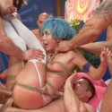 Anime whore Marica Hase takes deep double penetration in tight bondage and gags on five thick cocks