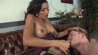 Secretary Yasmin puts her misogynist male scum boss at the end of her cane and thick hard cock, fucking him deep in the ass until he reforms his ways!