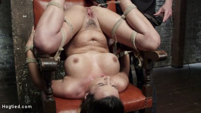 Bit tit brunette is bound, tormented, and made to squirt uncontrollably!!