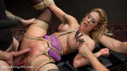 Big Tit Blonde Bombshell Cherie Deville fucked in tight rope bondage and slave trained to submit to her Master