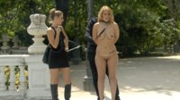 Hanna is a beautiful busty bondage slut that is stripped fully naked in public.