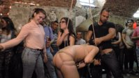 Two Brutal Dommes, Two Huge Tops, Two Slutty Whores, One Epic Public Orgy!