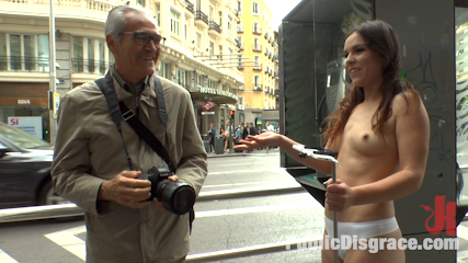 Slutty american tourist publicly disgraces herself. Juliette March is the worst! This Loser American Tourist Humiliates herself fully nude in public for Euro penish in her ass!!!