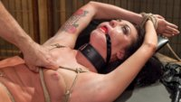 All natural 19 year old pussy in bondage, rough sex, punishment sex, tied up fucking, nipple zippers, hot jiz on ball gagged face