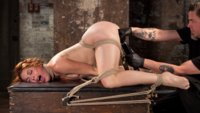 Amarna Miller steps into Hogtied with a slamming body. I rip her trashy little outfit off her with my powerful hands and tie her up for my pleasure.