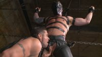 Leather hunk Hugh Hunter finds himself bound, shocked with electricity and fucked into submission at the mercy of Mr Ducati