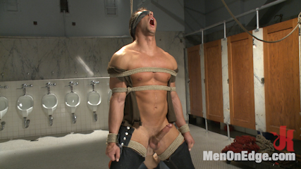 College jock gets a crash course in edging while bound to the urinals