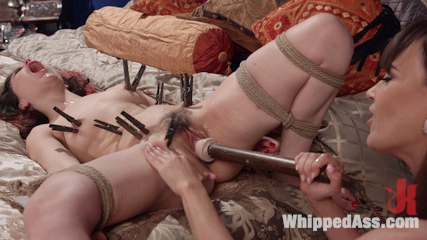 Special delivery servile butt slut gifted to hot domme. Hot domme, Dana DeArmond, tries out her new sex toy, Juliettte March. Join the fun with suspension bondage, spanking, flogging, anus strap-on & more!