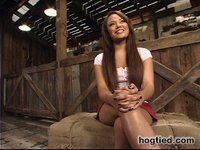 Annie Cruz squirts and sucks cock with her elbows bound