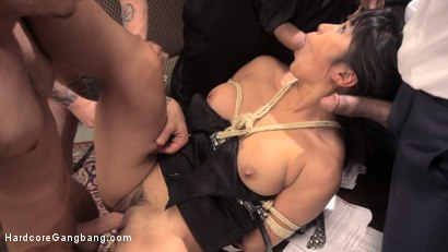 Judge Mia Li takes double penetration, intense anal fucking, and a gagging throat full of five thick jailhouse cocks!