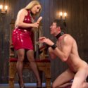 Slave Artemis Faux has been a very bad boy, and Mistress Aiden Starr punishes him hard