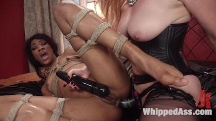 Dungeon games bored femme dommes slap whip and fuck to kill time. To entertain themselves between clients, Bella Rossi dominates fellow mistress Nikki Darling with OTK, whipping, and butthole strap-on fucking!