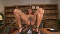 Daisy covers the room with her luscious pussy juices as she squirts all day from being fucked by our machines.