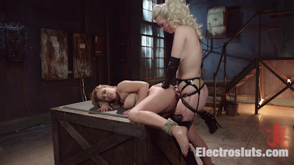 Hot latex lesbian electro sex cherry torn vs  cherie deville. Cherry Torn dominates Cherie Deville with the violet wand, wired dildos, e-stim, face sitting, and a cunt and butt electro strap on fucking!
