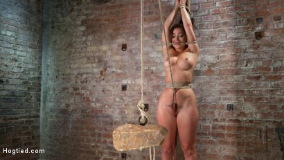 Suspended with a sybian tied to her, brutal torment, and grueling bondage.