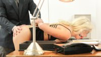 Submissive Secretary does anything to keep her job: hard anal, double penetration, bondage, sexual humiliation, double dick face fucking