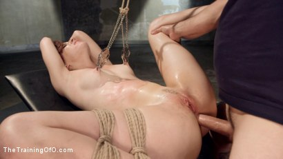 Audrey Holiday hardcore anal bondage slave gets fucked, suspended, gagged, drools, brutal nipple clamping, flogging, hard, deep fucking.