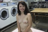 College cunt gets dirty while her clothes get clean