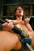 Holly Wellin enjoys a long slow ass and pussy machine fucking.