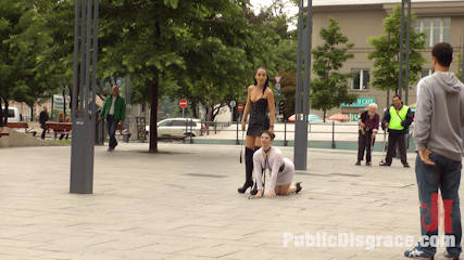 Disgusting urine guzzling slut paraded through budapest. Longtime PD Fan and public whore Lucia Love is greedy to be used on Public Disgrace!!!