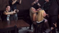Public Humilliation leads to these two blondes being passed around a bar as human fucktoys