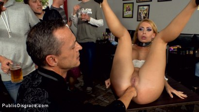 Blonde fuckdoll gets fisted and begs for double anal