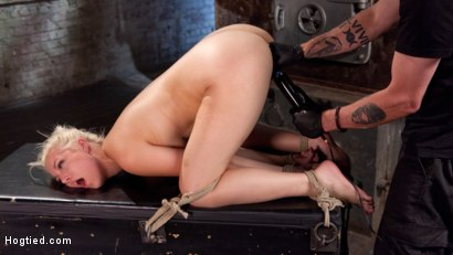 Blonde bombshell gets her first taste of brutal bondage, extreme torment, and earth shattering orgasms!!