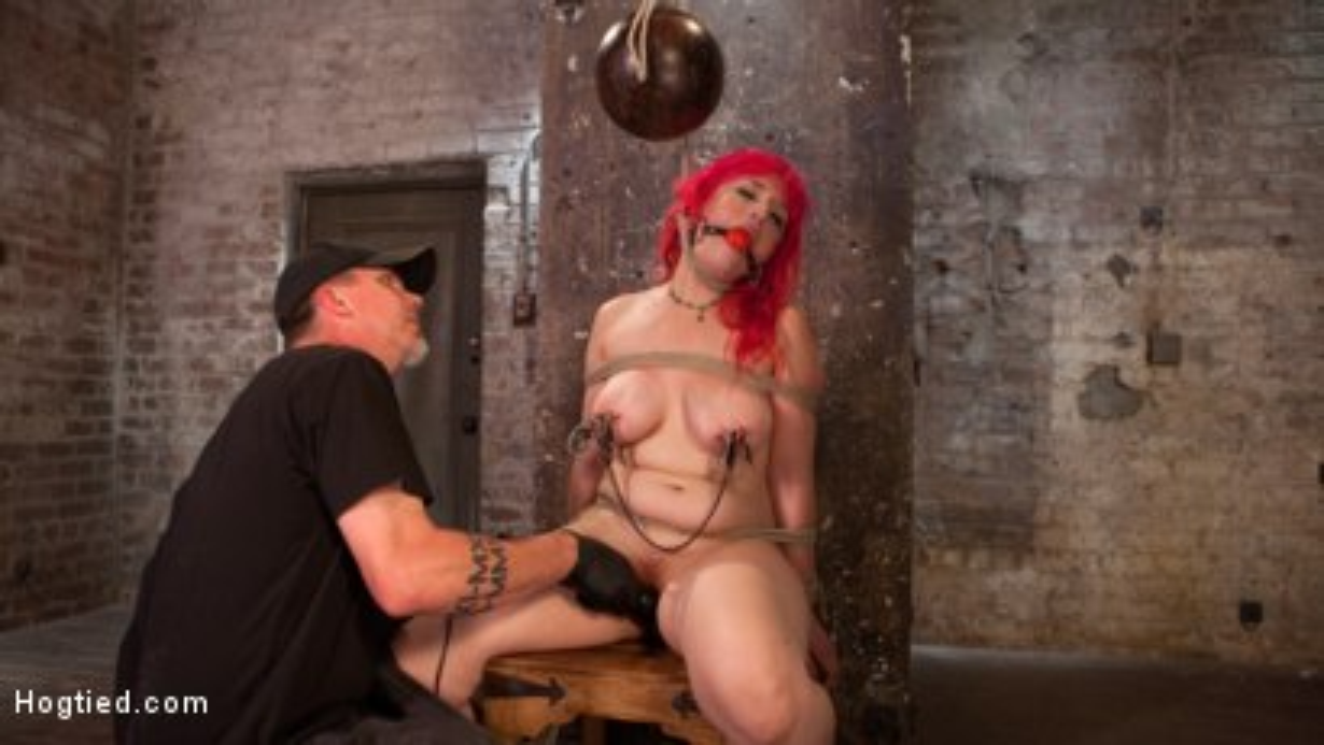 Hard bondage, breath control, nipple torment, flogging, tit bondage, and ass fucking!!!
