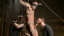 Party-boy-wakes-up-to-find-himself-in-a-crucified-edging