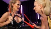 First hot blonde to mercy during a zapping match becomes the other's electro fuck toy. Electric plugs, wired clamps, violet wand and strap on fucking!