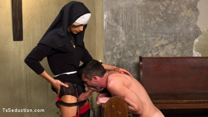 Sister Nina Lawless rehabilitates tough sexy prisoner, Lance Hart, with her enormous hard cock!