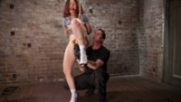 Ingrid is subjected to brutal nipple torment, flogging, caning, breath control and her pussy and ass fucked.