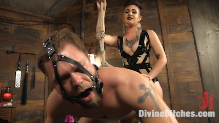 A minx among us. Hot mistress minx does cruel pegging and juicy cunt dildo gag with slave.