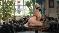 Celina Dachs crawls naked along the dirty streets of Berlin. Watch this beautiful woman get publicly degraded, soiled and stuffed full of cock.